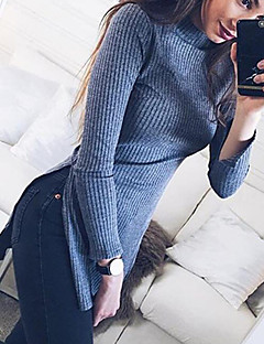 Women's Casual/Daily Simple Fall / Winter T-shirtSolid / Letter Turtleneck Long Sleeve Gray Polyester Medium