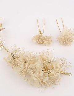 Mulheres Linho Capacete-Casamento Ocasião Especial Flores Alfinete de Cabelo 3 Peças