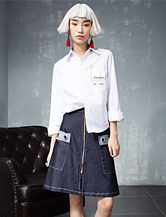 ROOM404  Women's Solid Blue SkirtsStreet chic Above Knee