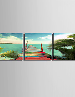 E-HOME® Stretched Canvas Art Extension Of The Coast Decoration Painting  Set of 3