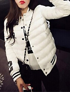 Women's Letter White / Black / Yellow Down Coat , Sexy / Casual Asymmetrical Long Sleeve