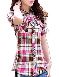 Women's Color Block Blue / Pink / Red / Beige / Green / Purple Shirt , Shirt Collar Short Sleeve Blouses