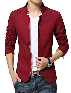 Men's Long Sleeve Casual / Work / Formal JacketCotton Solid Black / Blue / Brown / Red / Beige