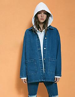 NEATO Women's Going out Simple Spring / Fall Denim JacketsSolid Shirt Collar Long Sleeve Blue Cotton Medium