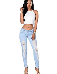 Femme Slim Jeans / Chino Pantalon,Vintage / Street Chic Décontracté / Quotidien Couleur Pleine Taille Normale fermeture Éclair / Bouton