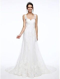 Lanting Bride® A-라인 웨딩 드레스 채플 트레인 스트랩 레이스 / 튤 와 아플리케 / 비즈 / 크리스-크로스