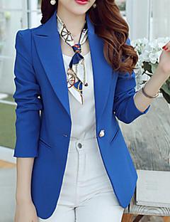 Damen Solide Einfach Blazer,Hemdkragen Frühling Langarm Blau / Schwarz / Grün Polyester Mittel