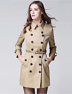 burdully Frauen Vintage Graben coatsolid Hemdkragen lange Ärmel Herbst / Baumwolle Medium Ausgehen