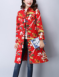 Women's Casual/Daily Ethnic Print Fashion Trench Coat Print Stand Fall / Winter Blue / Red Cotton / Linen Quilted Thick