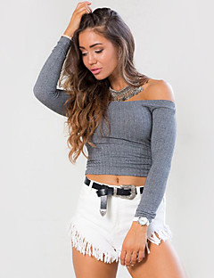 Women's Going out / Casual/Daily / Beach Sexy / Simple / Street chic Spring / Summer ShirtSolid Off Shoulder