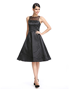 TS Couture® Cocktail Party Dress A-line Jewel Knee-length Stretch Satin with Embroidery