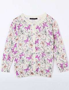 Menina de Suéter & Cardigan,Casual Floral Algodão Outono Branco