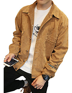 Men's Plus Size / Going out / Casual/Daily Vintage / Simple / Street chic Jackets,Solid Long Sleeve Spring / Fall Brown / Gray / Yellow