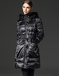 frmz Frauen solide rot / schwarz nach unten coatsimple mit Kapuze lange Hülse