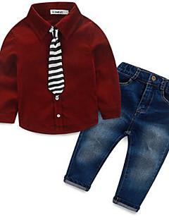 Jungen Jeans / Kleidungs Set-Lässig/Alltäglich einfarbig Baumwolle Frühling / Herbst Blau / Rot