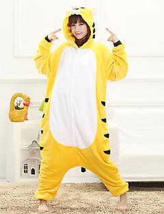 Unisex Cashmere / Polyester Cute Tiger Cartoon One-piece Pajama Winter Thick Sleepwear Yellow