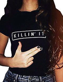 여성 문자 라운드 넥 짧은 소매 티셔츠,심플 캐쥬얼/데일리 면 여름 얇음