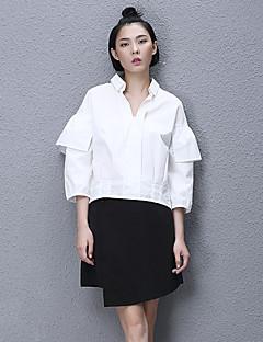 Dames Eenvoudig Alle seizoenen Overhemd,Casual/Dagelijks Effen Overhemdkraag Lange mouw Wit Katoen Medium