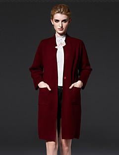 Damen Lang Strickjacke-Lässig/Alltäglich Einfach Solide Rot Ständer Langarm Acryl Nylon Herbst Mittel Mikro-elastisch