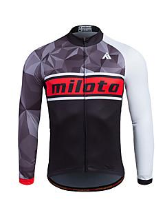 Esportivo Camisa para Ciclismo Homens Manga Comprida MotoRespirável / Mantenha Quente / Secagem Rápida / Zíper Frontal / Redutor de Suor