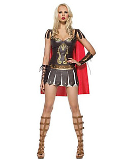 Cosplay Kostuums Krijger Festival/Feestdagen Halloweenkostuums Bruin Patchwork Kleding Shawl Halloween Textiel Binnenwerk