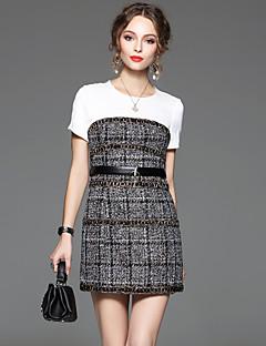 Damen Hülle Kleid-Ausgehen Einfach Einfarbig Rundhalsausschnitt Übers Knie Kurzarm Grau Polyester Sommer Hohe Hüfthöhe Mikro-elastisch