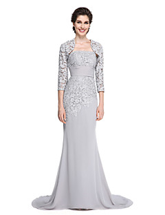 2017 Lanting Bride® Trumpet / Mermaid Mother of the Bride Dress - Elegant Sweep / Brush Train 3/4 Length Sleeve Chiffon / Lace