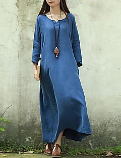 Dame Vintage Casual/hverdag Løstsiddende Kjole Ensfarvet,V-hals Maxi 3/4 ærmelængde Blå Andet Sommer Alm. taljede Uelastisk Tynd
