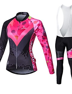 Malciklo Cycling Jersey with Bib Tights Women's Long Sleeve Bike Compression Clothing TightsQuick Dry Front Zipper Wearable High