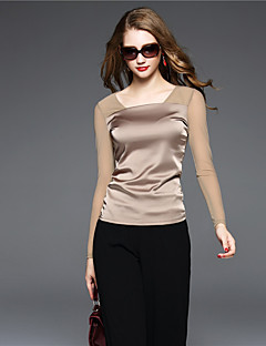 BOMOVO Women's V Neck Long Sleeve T Shirt Khaki-B16QAL7