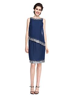 LAN TING BRIDE 시스 / 칼럼 신부 어머니 드레스 - 스파클 & 샤인 무릎 길이 민소매 쉬폰 - 비즈