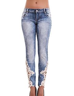 Eenvoudig-Katoen / Rayon-Inelastisch-Jeans-Broek-Vrouwen