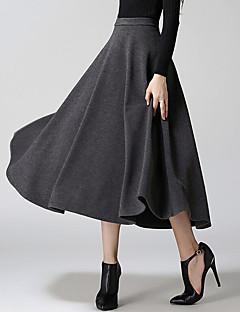 Women's Solid Red / Black / Gray SkirtsActive Midi