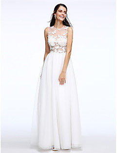 Lanting Bride® A-lijn Bruidsjurk Tot de grond Met sieraad Tule met Strik