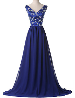 Formal Evening Dress A-line V-neck Court Train Chiffon with Beading
