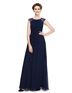 Lanting Bride® A-line Mother of the Bride Dress Floor-length Sleeveless Georgette with Beading / Draping / Lace / Sash / Ribbon