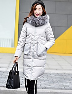 Women's Long Down CoatCute Casual/Daily Solid-Polyester White Duck Down Long Sleeve Hooded Blue / Black / Gray