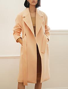 Casual/hétköznapi Egyszerű Téli-Női Kabát,Egyszínű Állógallér Hosszú ujj Rózsaszín Gyapjú / Nejlon Közepes vastagságú