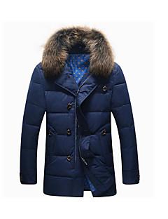 רגיל מעיל פוך מעיל גברים,אחיד פשוטה יום יומי\קז'ואל פוליאסטר נוצות ברווז לבנות-שרוול ארוך כחול