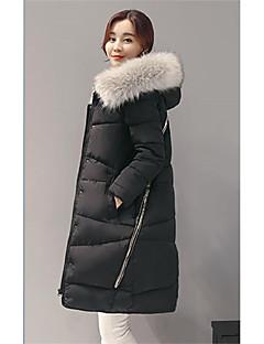 Dámské Dlouhé S vycpávkou Jednoduché Velké velikosti Jednobarevné-Kabát Umělé hedvábí Polyester Dlouhý rukáv Kulatý Černá / Šedá