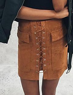 Bodycon Rokken,Dames EffenStreet chic Medium taille Uitgaan / Casual/Dagelijks Boven de knie Rits Polyester Micro-elastischHerfst /