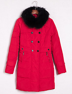 רגיל מעיל פוך מעיל נשים,אחיד סגנון רחוב יום יומי\קז'ואל ניילון נוצות ברווז לבנות-שרוול ארוך צווארון מרובע אדום / צהוב