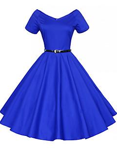 קיץ כותנה כחול / אדום / שחור שרוולים קצרים עד הברך צווארון V אחיד / פרחוני וינטאג' ליציאה שמלה נדן נשים,גיזרה בינונית (אמצע) מיקרו-אלסטי