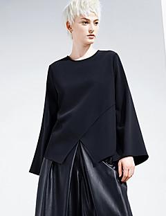 여성 솔리드 라운드 넥 긴 소매 티셔츠,심플 데이트 / 캐쥬얼/데일리 블랙 폴리에스테르 봄 / 가을 중간