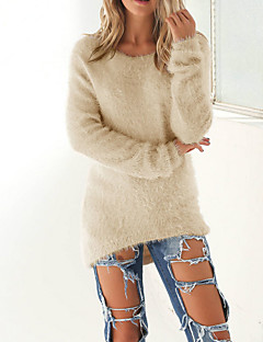 Women's Casual/Daily Sexy Long PulloverSolid Pink / Beige / Black  / Gray Round Neck Long Sleeve Polyester Winter Medium