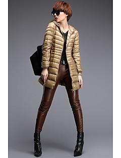 コート ロング ダウン レディース,プラスサイズ カジュアル/普段着 ソリッド ポリエステル ホワイトグースダウン-ストリートファッション 長袖 フード付き