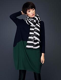 Damen Lose Kleid-Formal / Arbeit / Übergröße Einfach / Street Schick / Anspruchsvoll Solide / Druck / Einfarbig RundhalsausschnittÜbers