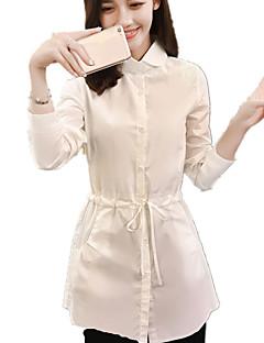 Damen Solide Einfach Lässig/Alltäglich Hemd,Hemdkragen Frühling / Herbst Langarm Weiß Baumwolle Mittel
