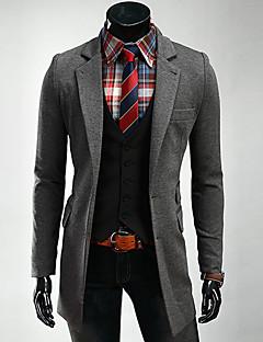 Masculino Blazer Trabalho / Casual / Formal Simples / Moda de Rua Outono / Inverno,Sólido Preto / Cinza Algodão Colarinho de CamisaManga
