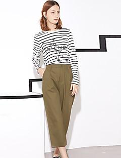 Femme simple Micro-élastique Chino Pantalon Couleur Pleine